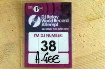 DJ A.Gee bbc 1xtra world record lanyard